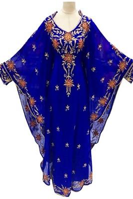 Blue Embroidery Work Georgette Hand Stiched Arab Islamic farasha