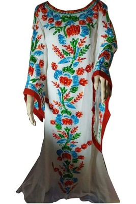 Multicolor Embroidery Work Georgette Hand Stiched Arab Islamic farasha