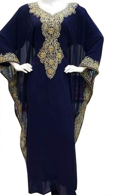 Blue Embroidery Work Georgette Hand Stiched Arab Islamic farasha