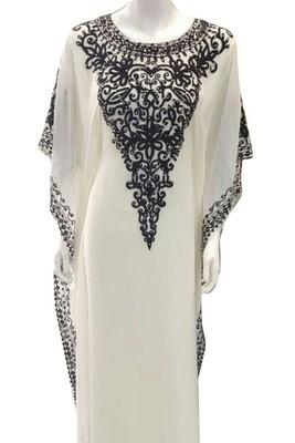 White Embroidery Work Georgette Hand Stiched Arab Islamic farasha