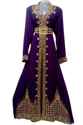 Voilet Beads and Stone Work Georgette Hand Stiched Arab Moroccan Kaftan