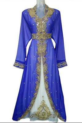 Blue Beads and Stone Work Georgette Hand Stiched Arab Moroccan Jacket Kaftan