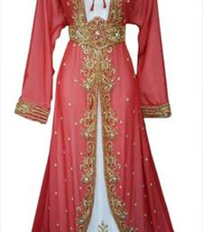 Red Beads and Stone Work Georgette Hand Stiched Arab Moroccan Jacket Kaftan