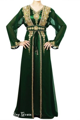 Green Beads and Stone Work Georgette Hand Stiched Arab Moroccan Jacket Kaftan