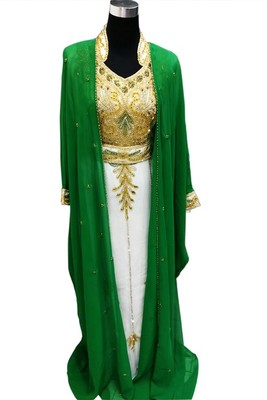 Green and White Beads and Stone Work Georgette Hand Stiched Arab Moroccan Jacket Kaftan