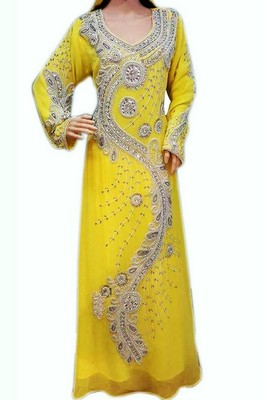 Yellow Beads and Stone Work Georgette Hand Stiched Arab Moroccan Kaftan