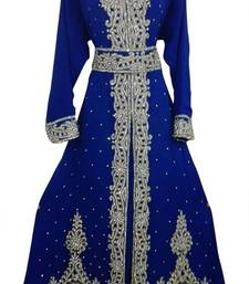 Blue Beads and Stone Work Georgette Hand Stiched Arab Moroccan Kaftan