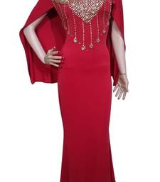 Red Beads and Stone Work Lycra Hand Stiched Arab Moroccan Kaftan