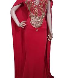 Buy Red Beads and Stone Work Lycra Hand Stiched Arab Moroccan Kaftan islamic-kaftan online