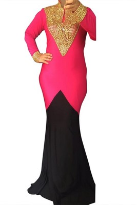 Pink and Black Beads and Stone Work Lycra Hand Stiched Arab Moroccan Kaftan