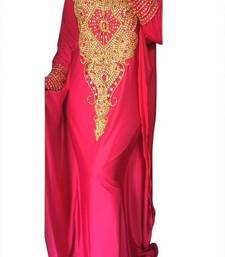 Pink Beads and Stone Work Lycra Hand Stiched Arab Moroccan Kaftan