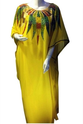 Yellow Beads and Stone Work Georgette Hand Stiched Arab Islamic farasha