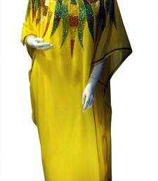 Yellow Beads and Stone Work Georgette Hand Stiched Arab Islamic farasha