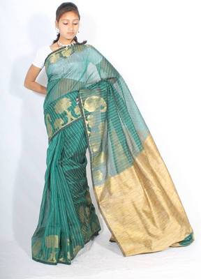 Supernet Zari Border Ghiccha Pallu Saree