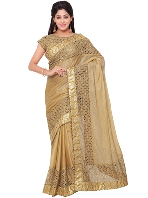 5d9a8393ee4eee Indian women Gold Designer Saree with Heavy Work Raw Silk saree with blouse  - Indian Women Fashions Pvt Ltd - 2482243