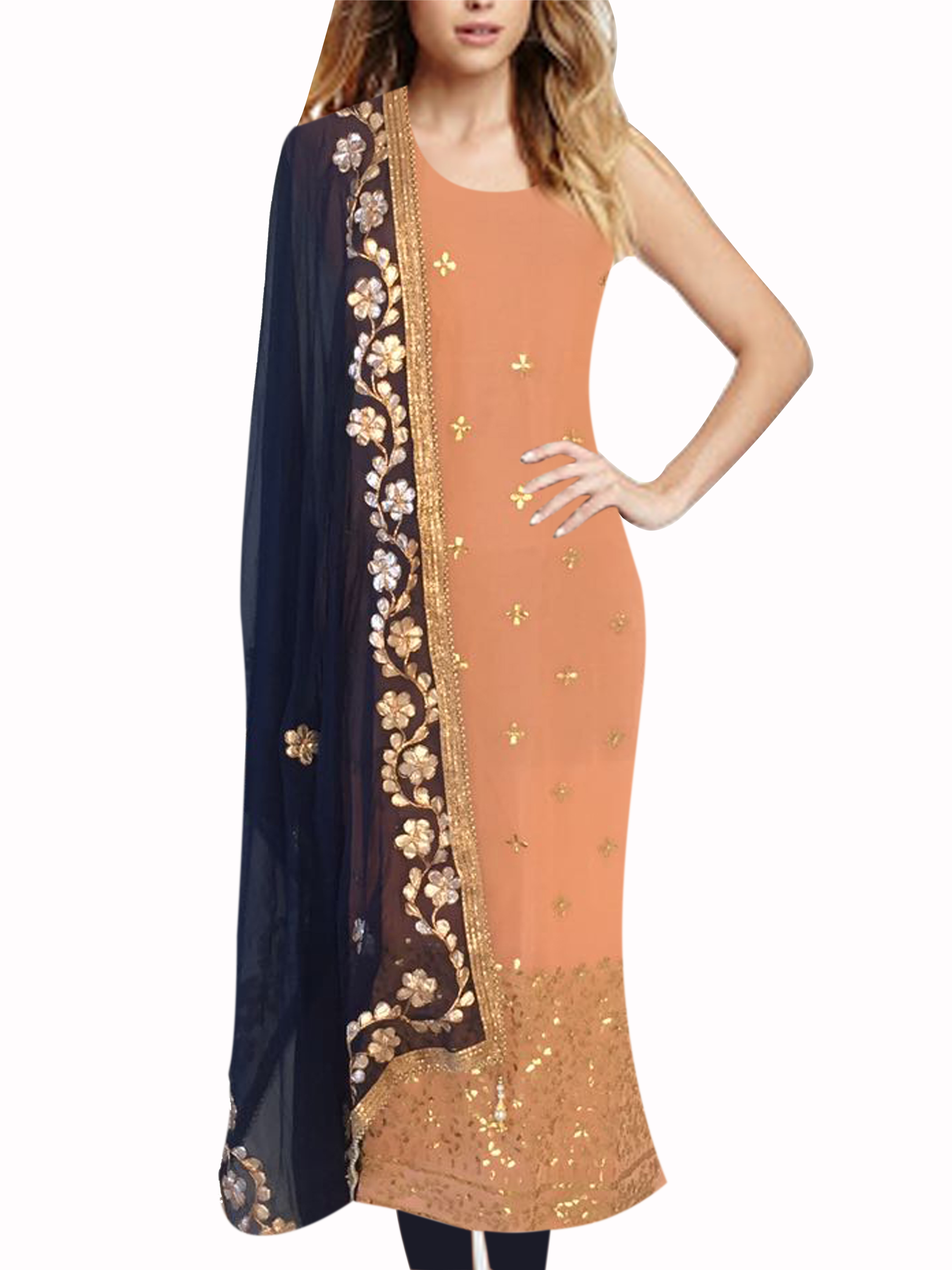 6df9c60748446 Pumpkin daman unstitched kurti with navy blue gota patti dupatta - Design  Sanjoli - 2482388