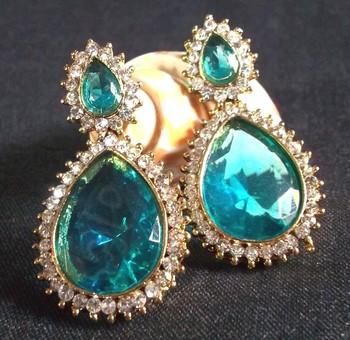 Pearl Stone Drop Sea Blue Earring