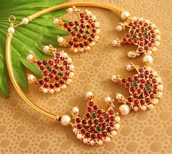 Gorgeous Moon Pendant Temple Designer Necklace Set