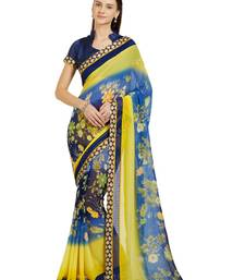 Indian women multicolor Floral Print Raw Silk saree with blouse