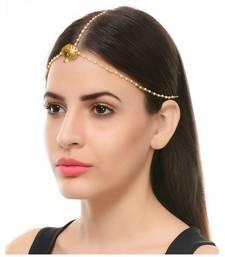 Golden Pearl Chain Maang Tikka