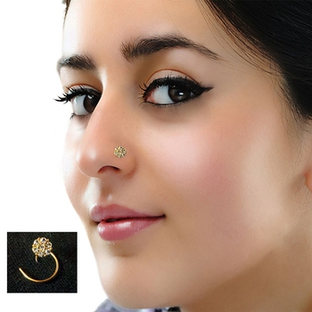 Designer 8 Diamond Stone Golden Nose Ring