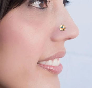 Greenish Blue Floral Diamond Studed Nose Ring Or Nose Pin
