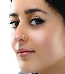 Greenish Blue Floral Diamond Studed Nose Ring Or Nose Pin Shreevaram 2482595