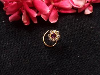 Purple Floral Diamond Studed Nose Ring Or Nose Pin