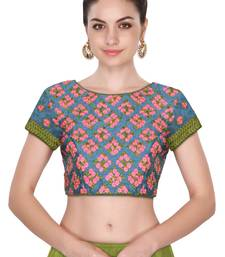 Fabron Short Sleeves Grey Colored With Pink Motif Embroidered Stitched Blouse For Women