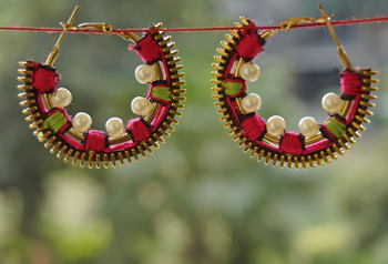 embroidered pearl hoops