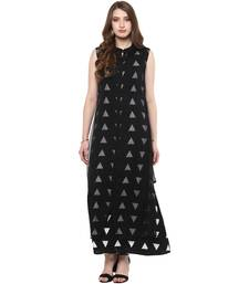 Black printed chiffon kurtas-and-kurtis