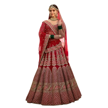 d63ac35549 Fabron Coral Red Embroidered Bridal Semi Stitched Lehenga Choli Material  With Net Dupatta - Fabron - 2483970