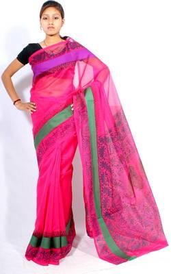 Supernet Satin Border Printed fancy pallu saree