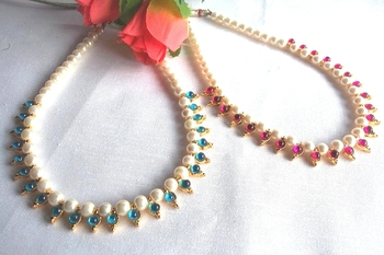 Sea Blue and Dark Pink pearl necklace