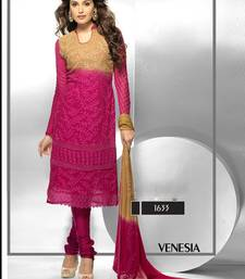Buy Latest-Embroidered-Rani Pink-Full-Sleeve-Dress Material evening-wear-dress online