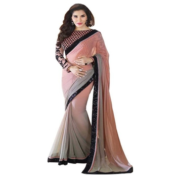 Multicolor plain georgette saree with blouse
