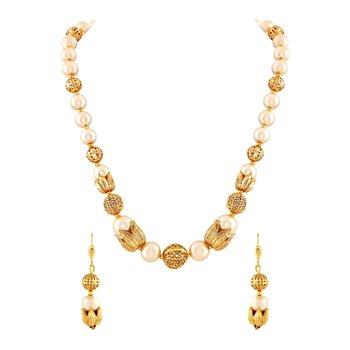 Marvellous Gold Plated Necklace Mala Set For Women