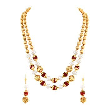 Graceful 2 String Gold Plated Necklace Mala Set For Women