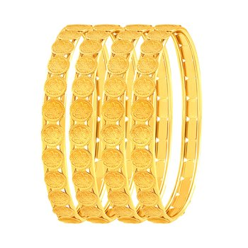 Brilliant Laxmi Coin Gold Plated Set Of 4 Bangles For Women