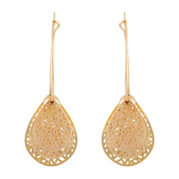 Attractive Dangle Gold Plated Leaf Shape Earring For Women