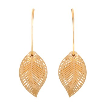 Classy Dangle Gold Plated Leaf Shape Earring For Women