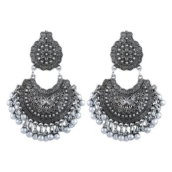 Divine chand bali rhodium plated oxidised handmade earring for women