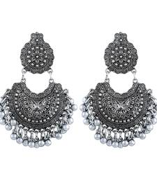 Divine chand bali rhodium plated oxidised handmade earring for women danglers-drop