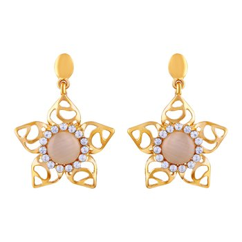 Attractive Flower Shape Round Crystals Gold Plated Dangle Earring For Women