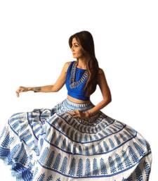 Buy Blue and off white bhagalpuri printed designer lehenga choli lehenga-choli online