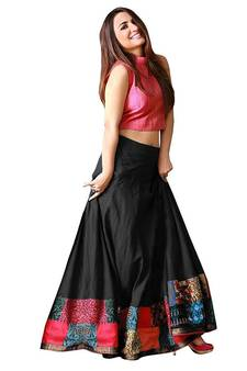 1a5f4e305c4d9 Black and pink taffeta silk printed designer lehenga choli