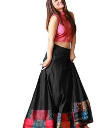 Black and pink taffeta silk printed designer lehenga choli