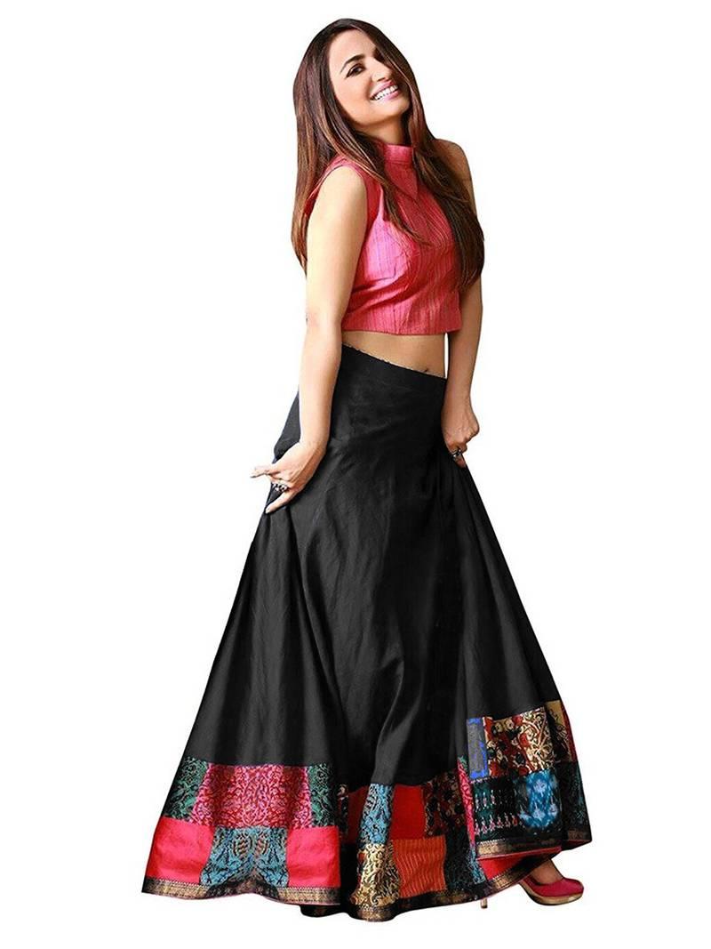 b459a7871d Black and pink taffeta silk printed designer lehenga choli ...