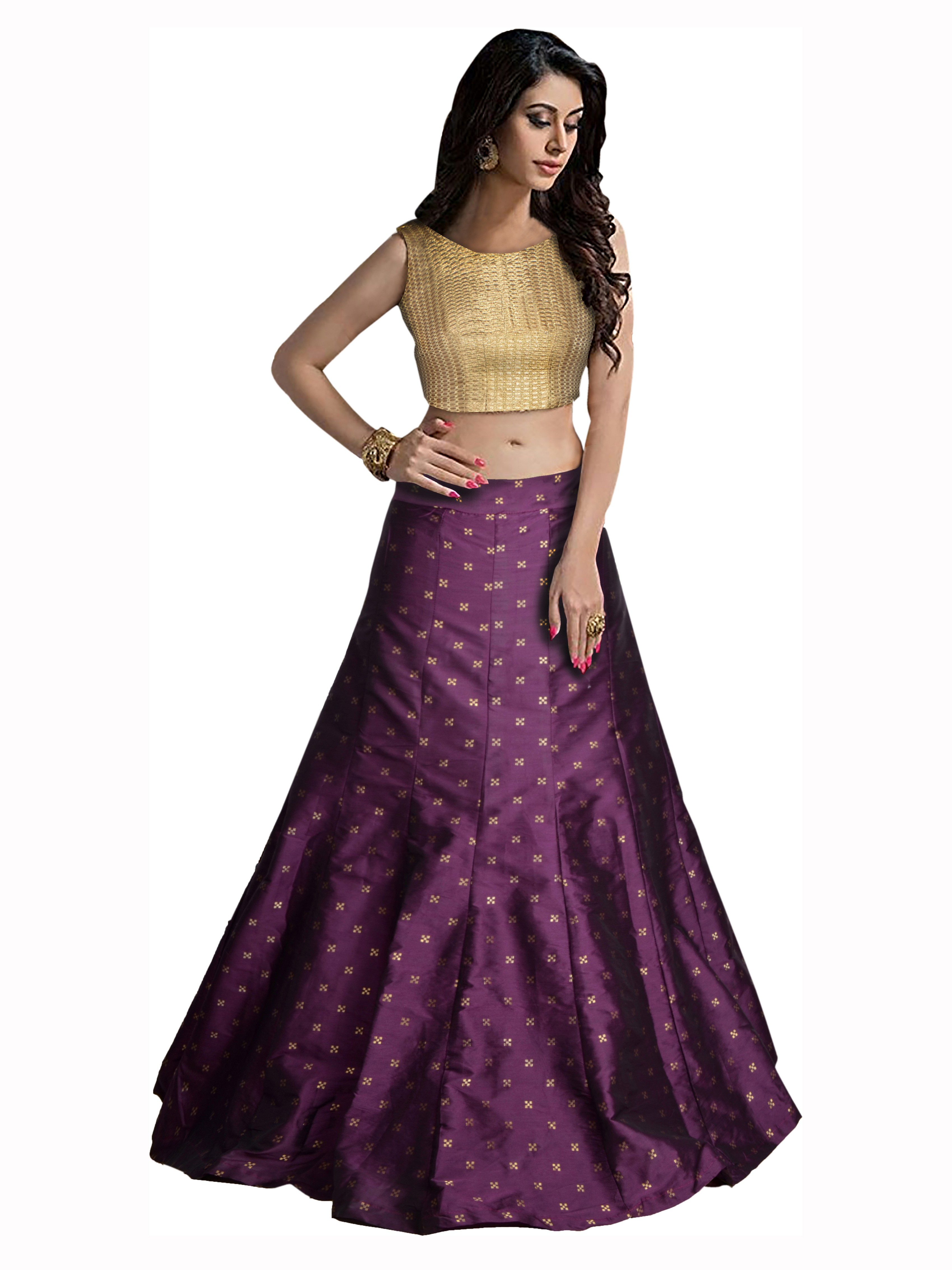 083e2f35bbe63 Purple and gold taffeta silk printed designer lehenga choli - Vastrang -  2486218