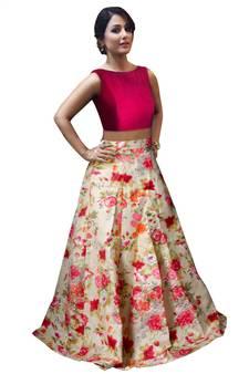 14ecf5e8b2067 Pink and off white banglori satin silk printed designer lehenga choli